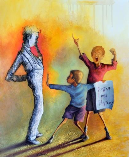 Clémence Caruana - Grève des pantins - 73x60cm - Acrylique sur toile - Disponible