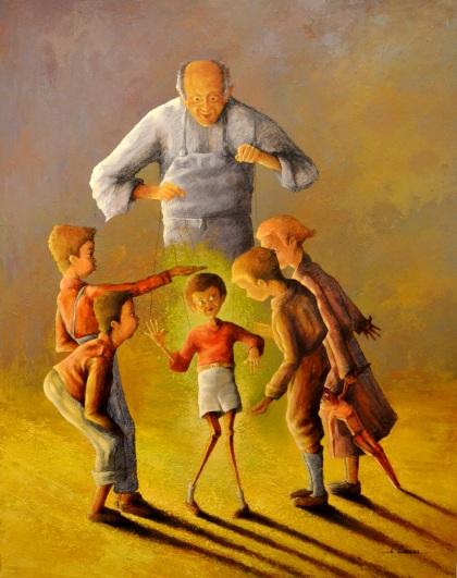 Clémence Caruana - Innocence au bout du fil - 92x73cm - Acrylique sur toile - Disponible