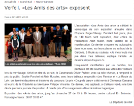 """Clémence CARUANA Prix des """" Félicitations du Jury """" par les Amis des arts, exposition à Verfeil Salon d'automne Octobre 2013"""