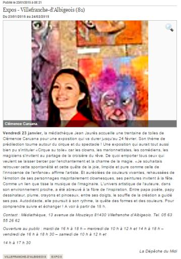 Clémence CARUANA exposition individuelle à la médiathèque de Villefranche d'albigeois, du 23 Janvier au 24 Février 2015