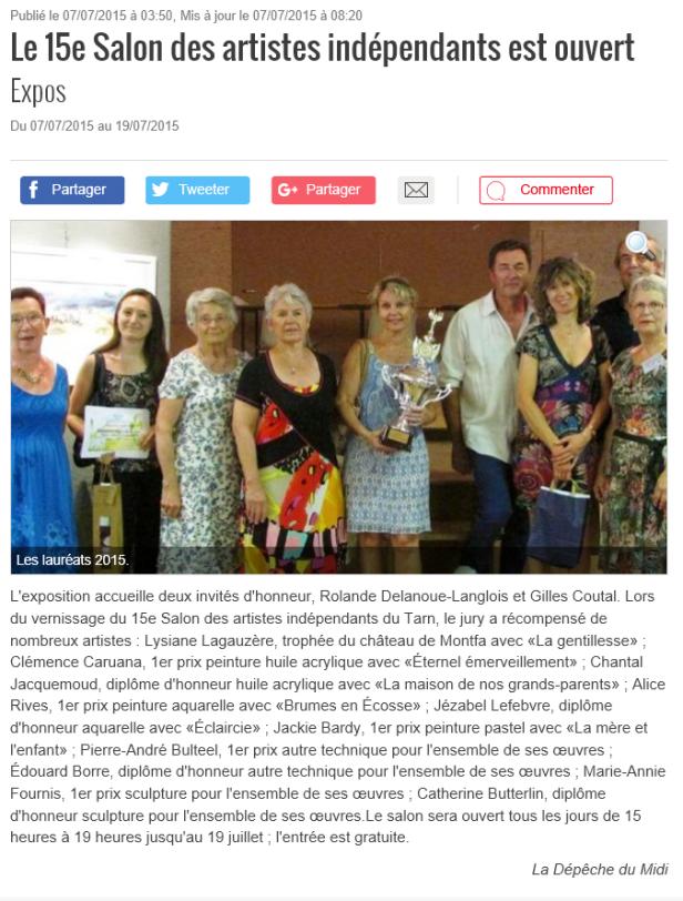 Clémence CARUANA - 1er Prix peinture au Salon des Artistes indépendants du Tarn, à Venes Juillet 2015