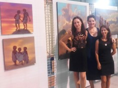 Frédérique Roche, Laure Vieusse et Clémence Caruana Exposition peintures Carcassonne Août 2017