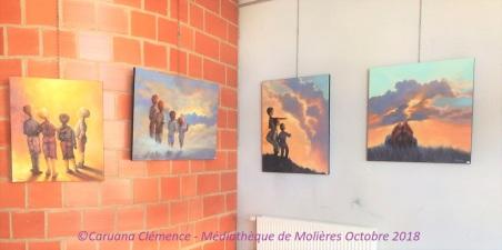 Caruana Clemence Artiste peintre Exposition Mediatheque de Moliere Octobre 2018